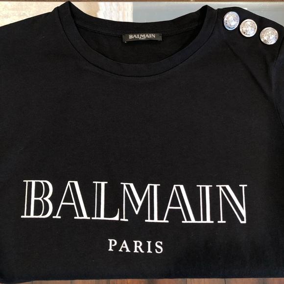 253e35003f Balmain Tops | Logo Print Jersey Tshirt Size 34 | Poshmark